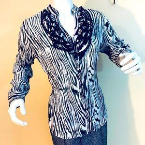 Cleo Zebra Print Ruffle Sheer Top